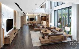 Thiết kế nội thất biệt thự Quảng Ninh – Thời thượng với gỗ óc chó